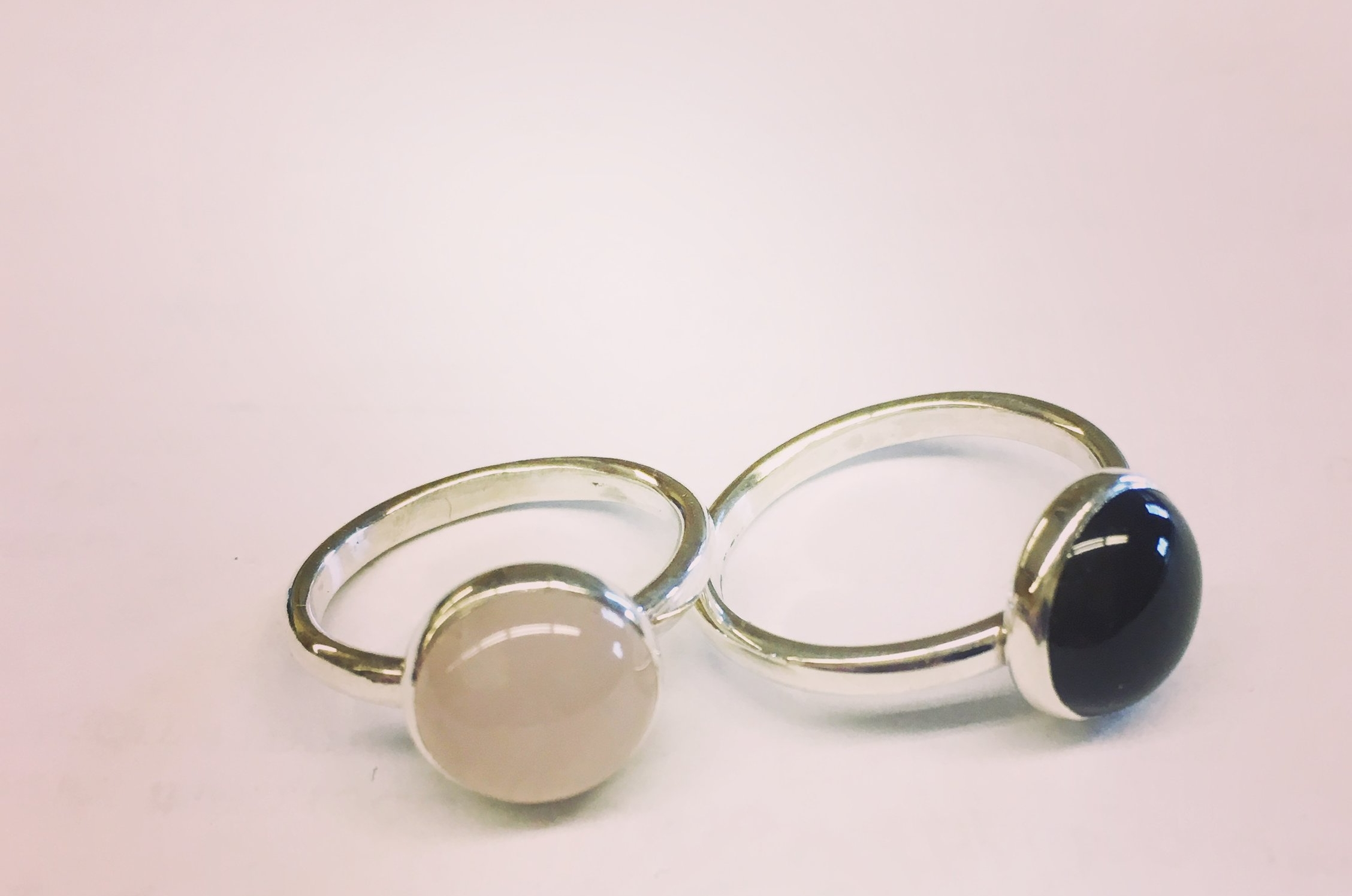Rose quartz and black onyx set in sterling silver.