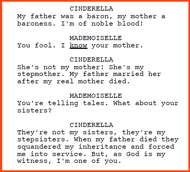"Dialogue excerpt from the screenplay ""Cinderella Must Die"" by Penelope Chai and Matteo Bernardini"