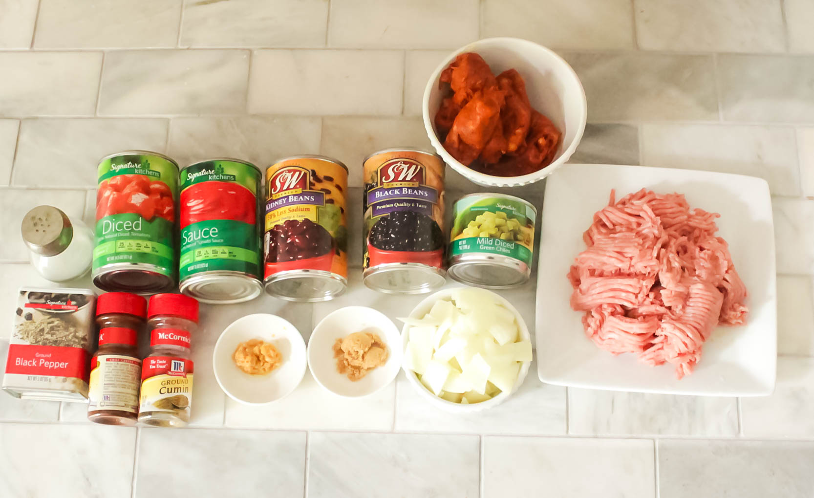 All the ingredients that will be put into the crock pot.  Follow instructions to cook turkey and chorizo separately.