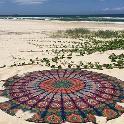 Labhanshi Indian Mandala Round Beach Towel