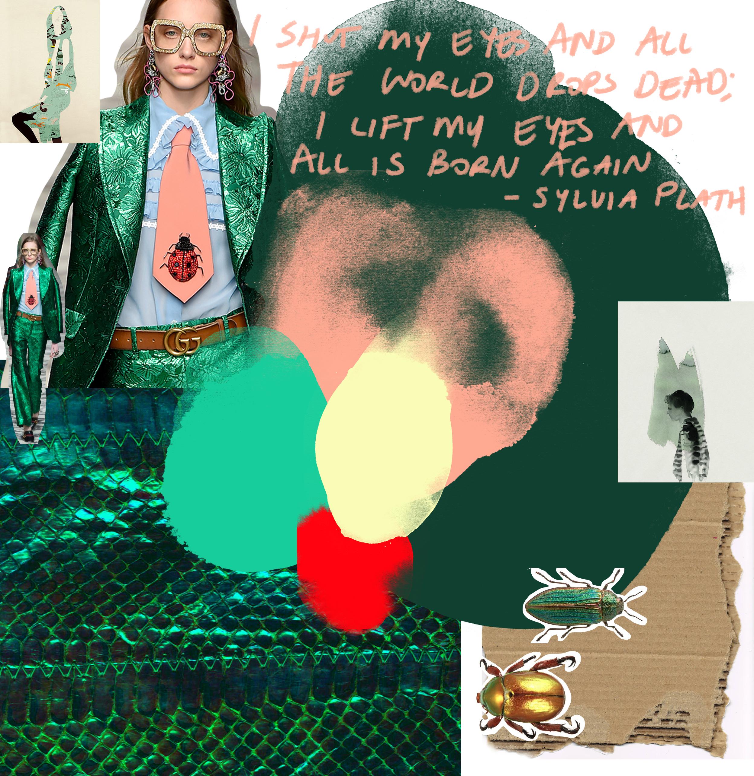 Illustration credits - Cecilia Carlstedt /Fashion credits - Gucci /Words - Sylvia Plath