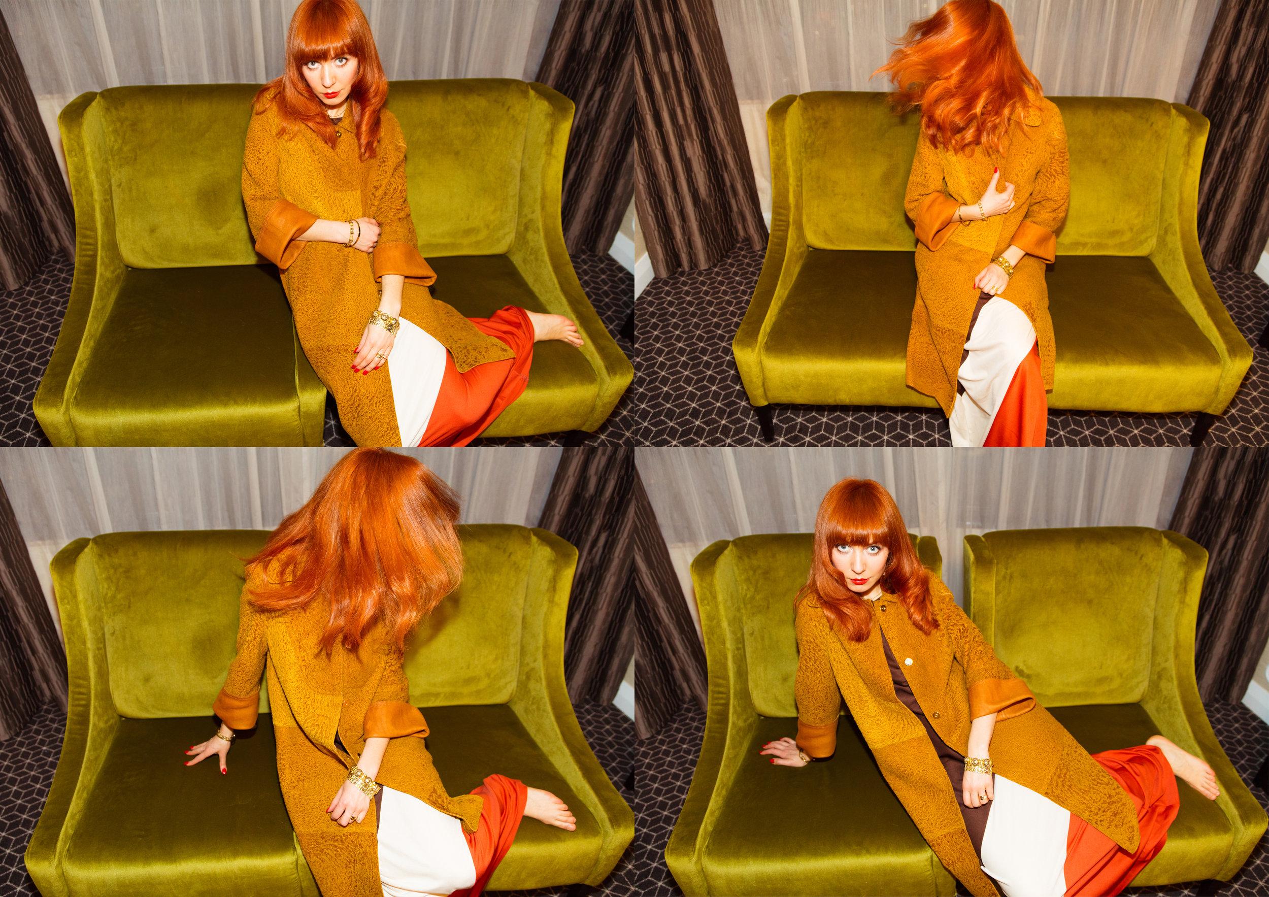 Velvet chairs in my suite, wearing  Karen Walker