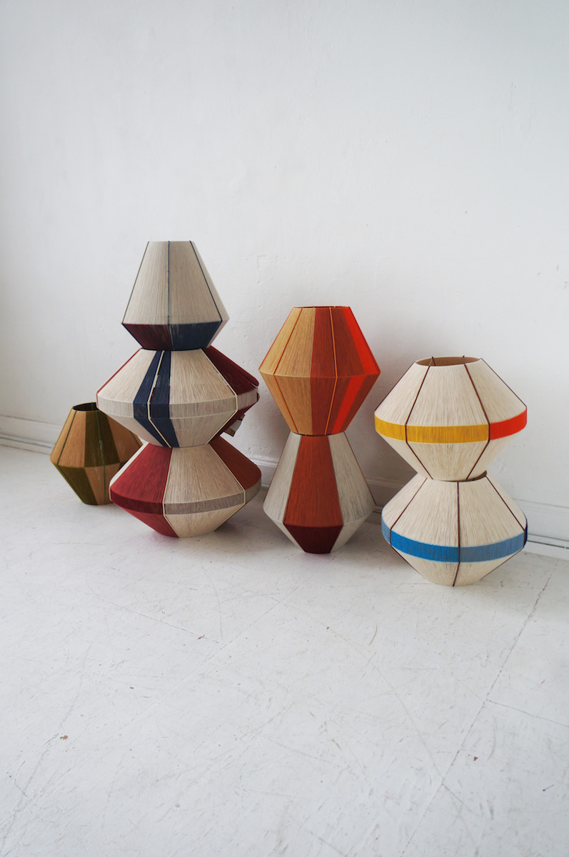 WeraJane handmade lamps made from recycled wool factory yarns