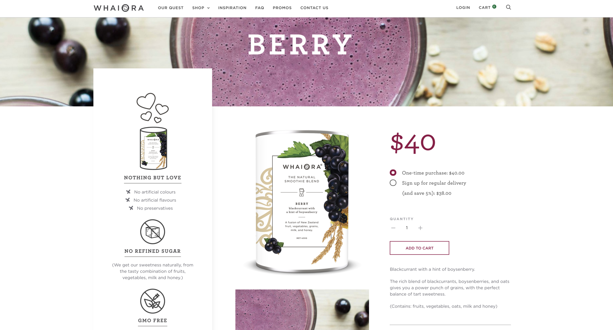 Kelly Thompson Whaiora Smoothie Blend Packaging