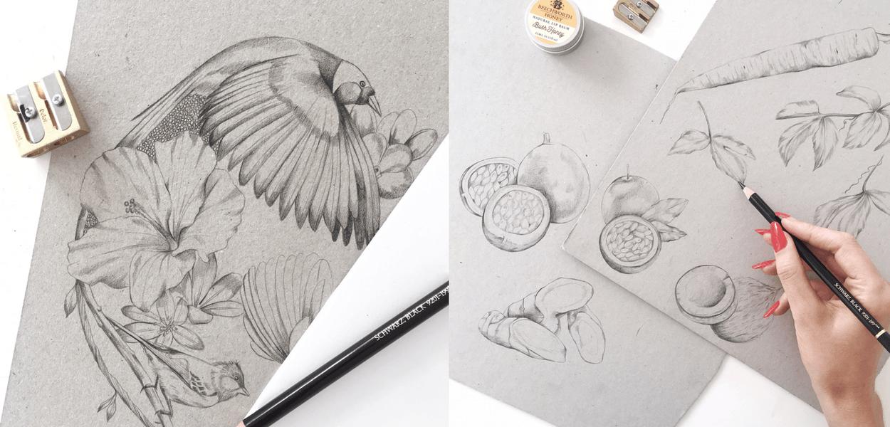Kelly Thompson pencil Illustration Maker's Mrkt
