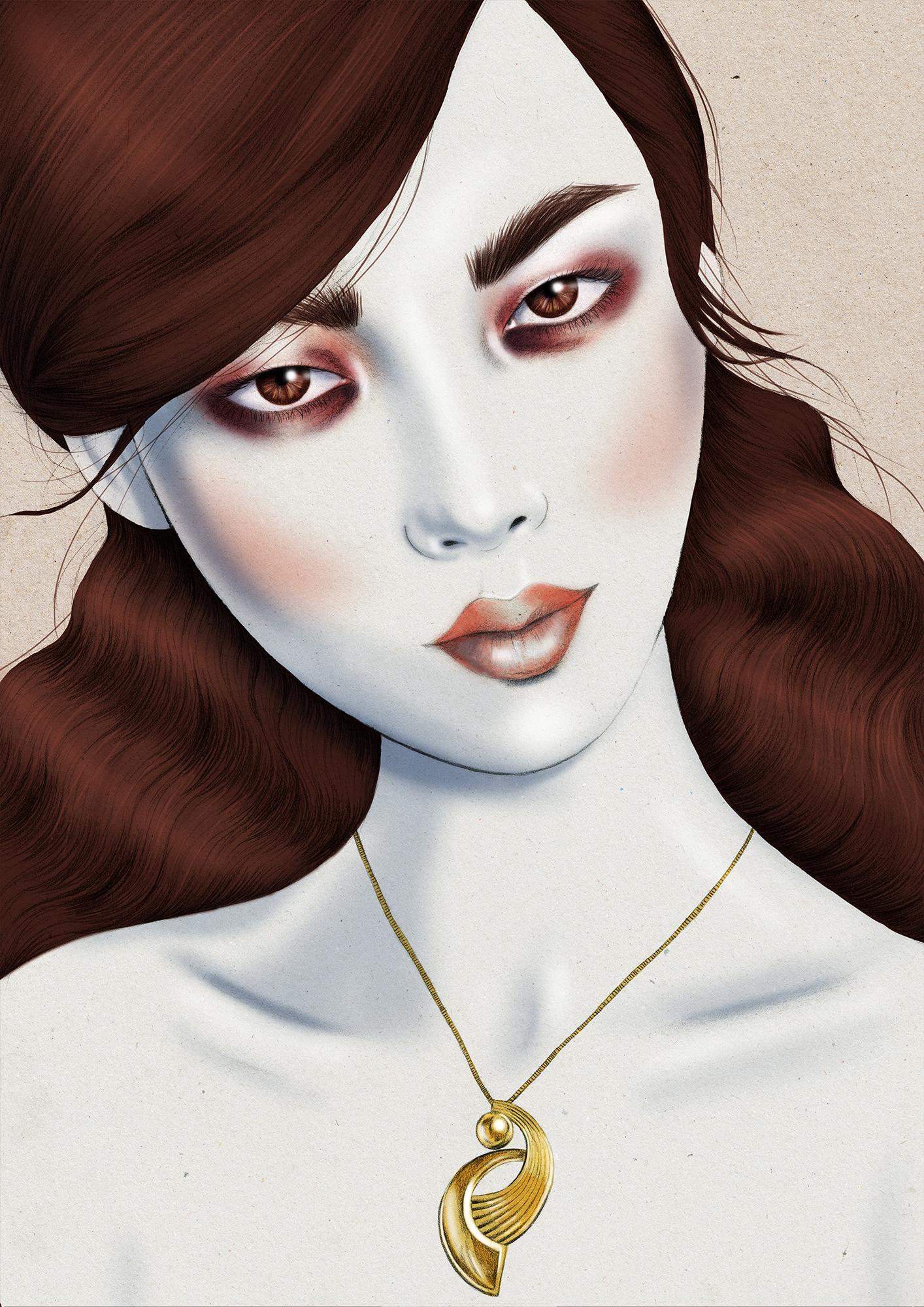 Kelly Thompson Walker & Hall jewellery campaign illustrations