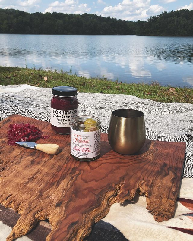 It was a gorgeous day and this little spread was just divine ❤️ + Nothing says east coast like hot pepper shooters 🤘✨ they went superbly with the kraut and the Caprese that followed 💕 + This little cheeseboard treasure was made by @dib_dab with some incredible wood given by a dear friend and retired CA firefighter, John. This was great to christen it with a birthday celebration 🍾  #caredwoods #redwoods #cheeseboardgoals #cheeseboard #havecheeseboardwilltravel