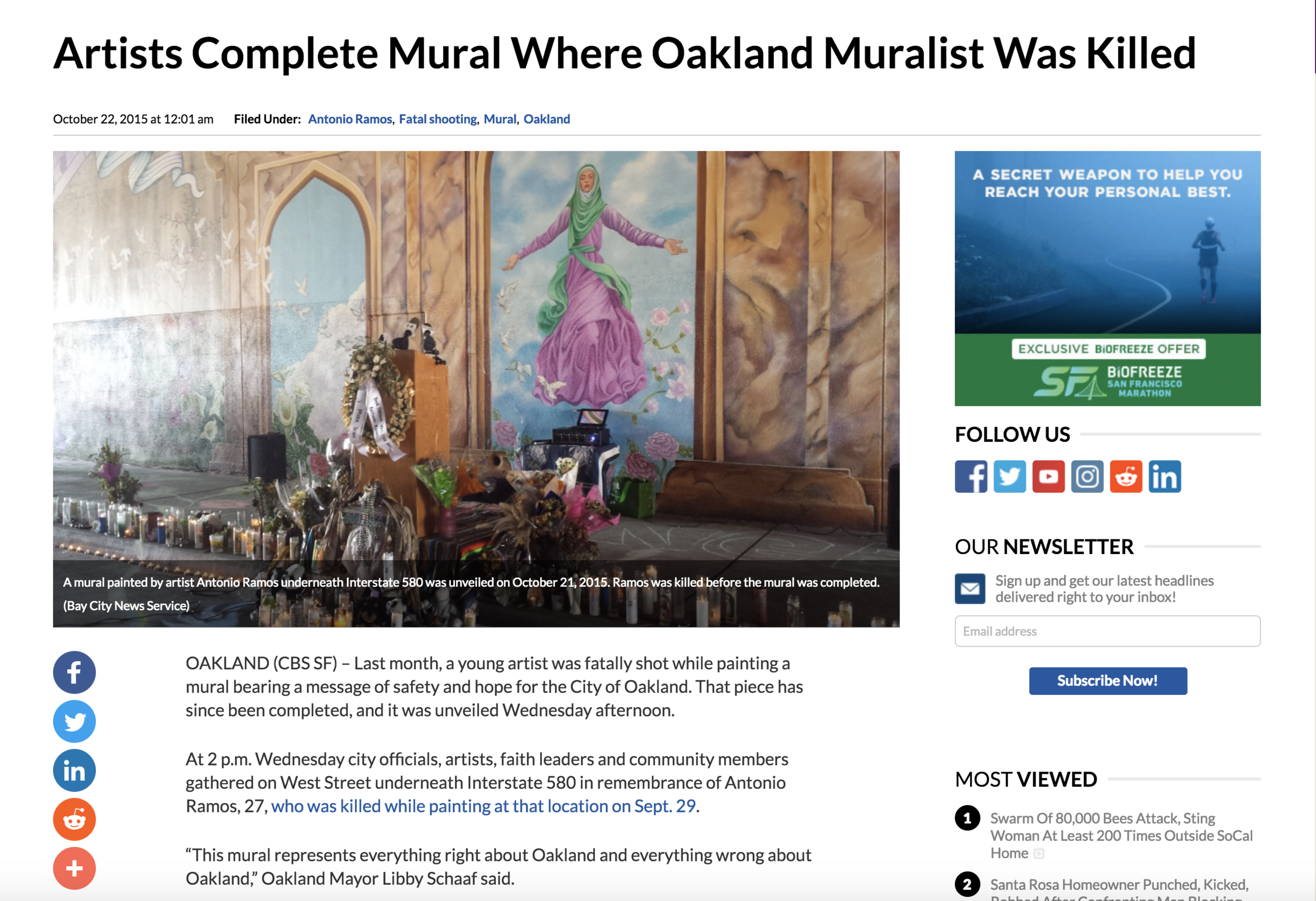 """CBSSan Francisco Feature - """"This mural represents everything right about Oakland and everything wrong about Oakland,"""" Oakland Mayor Libby Schaaf said."""