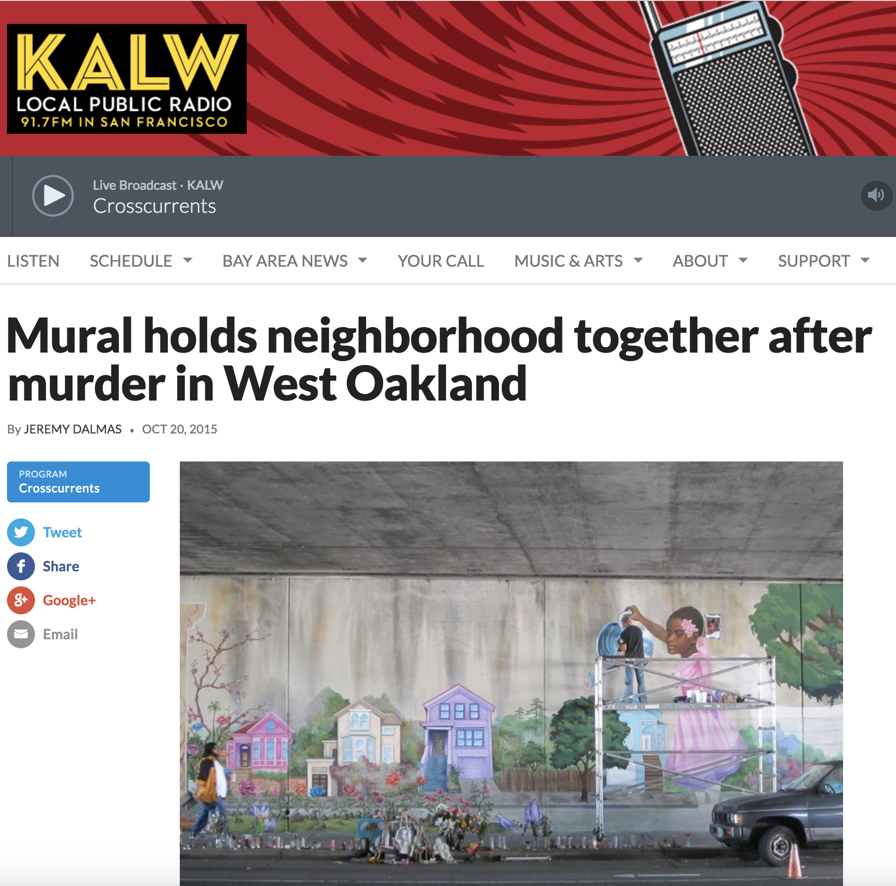"""KALW Audio Story - """"As public artists, street artists, there's an unspoken contract between ourselves and the public that while we're working they're going to leave us alone, look out for us,"""" he says. """"I don't feel any less safe today than I did the morning that we all came out here, Tuesday morning before Antonio got shot. We just have to trust that."""""""