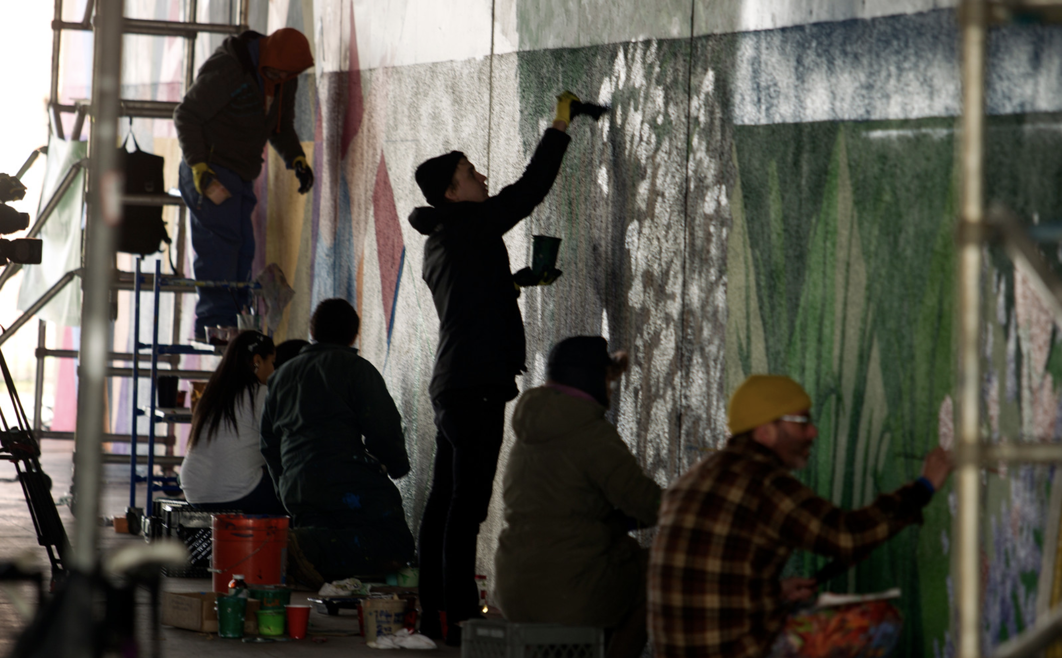 Mercury News - The Oakland Super Heroes Mural Project brings 12 local Oakland artists together to render the mural designed by lead artist Refa One. The mural is based on a story of four super heroes imagined by students at Westlake Middle School as part of the ArtEsteem