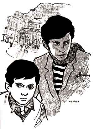 Feluda and his homeboy Topshe drawn by Satyajit Ray himself. Strong resemblance to Adam West and Burt Ward!