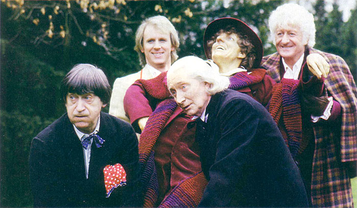 The 20th anniversary episode (1983) had all the Doctors up until then, in one episode. Like I said, timey-wimey.