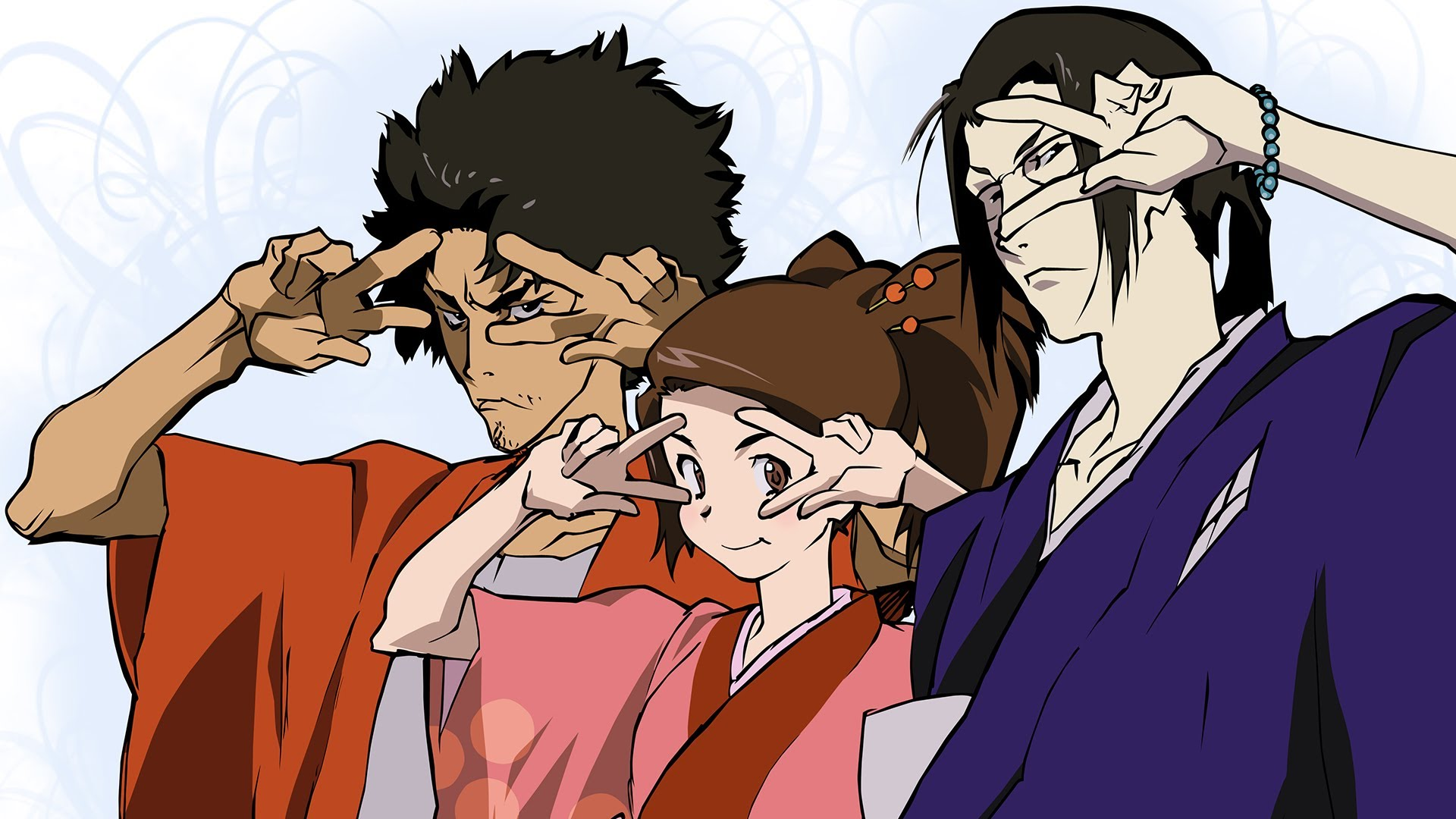 The main trio of  Samurai Champloo , seen here doing the  Batusi .