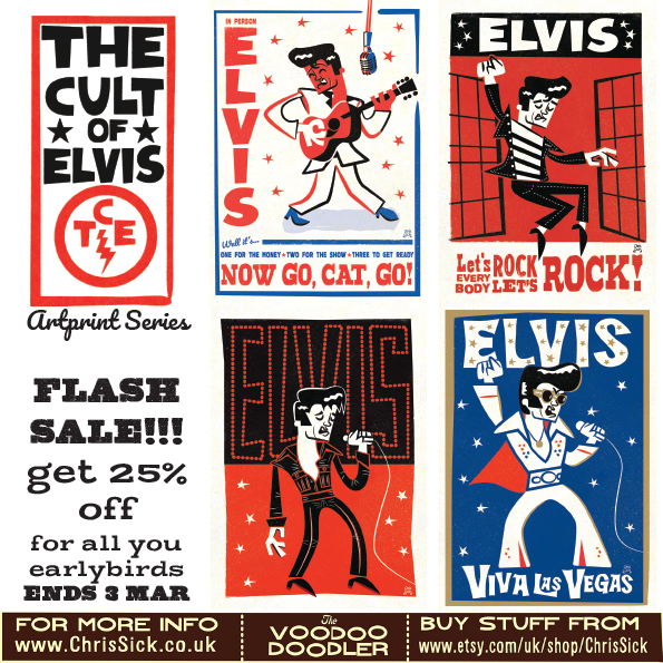 The Cult of Elvis - A new series of A3 Elvis prints through all the Eras of the King of Rock 'n' Roll now on sale!!!