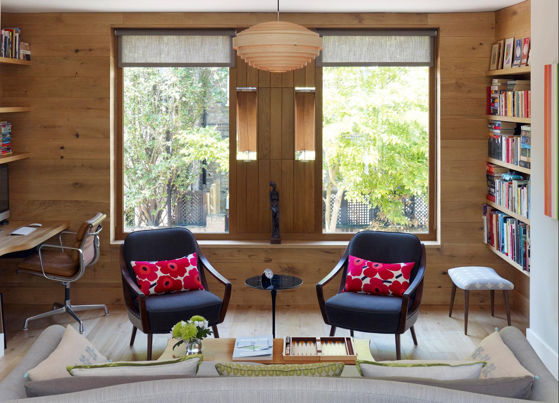 Jill Scholes Interior design, mews house sitting room view towards windows