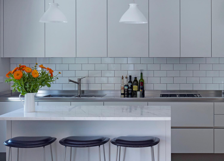 Jill Scholes Interior design, mews house, kitchen island with galley behind