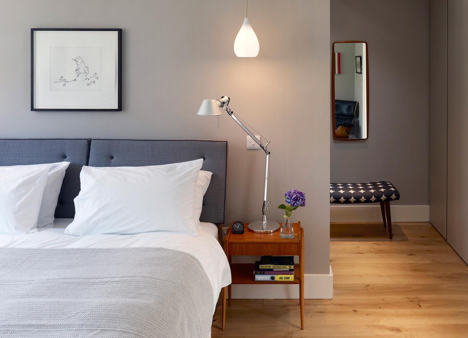 Jill Scholes Interior design, mews house, master bedroom with view to adjoining dressing area