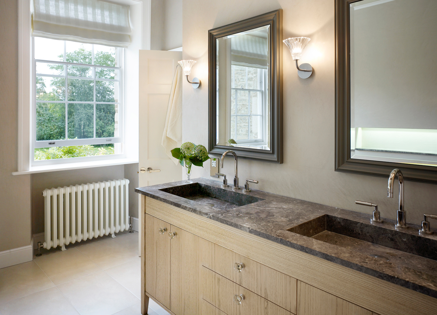 Jill Scholes Interior Design, Oxfordshire Country House, master bathroom double basin with bespoke cabinetry