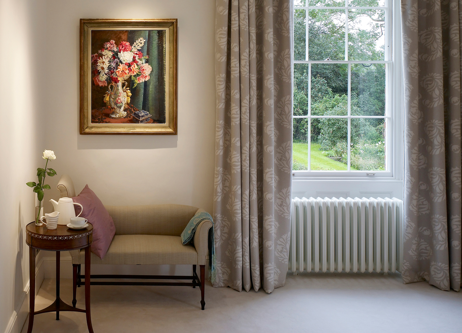 Jill Scholes Interior Design, Oxfordshire Country House, corner detail of traditional bedroom with fabric curtains