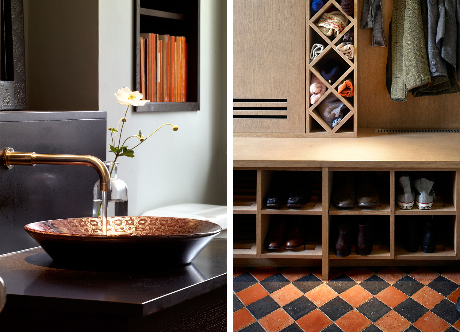 Jill Scholes Interior Design, Oxfordshire Country House, details of cloakroom and custom joinery for boots and coat storage