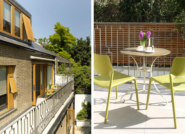 Jill Scholes Interior design, mews house, exterior view of terrace