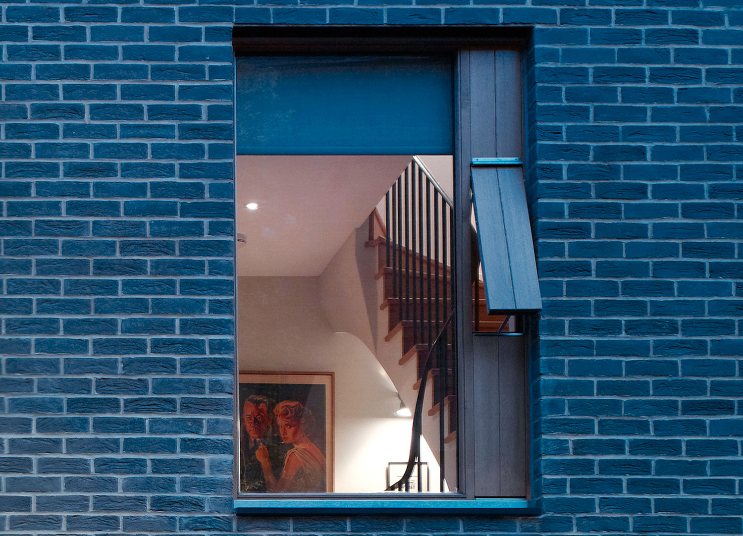 Jill Scholes Interior design, mews house, view through window to hallway with staircase