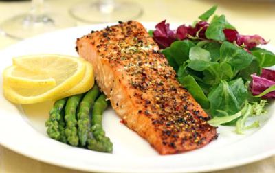 High Fat Meal: Salmon, Asparagus, Side Salad and Lemon.