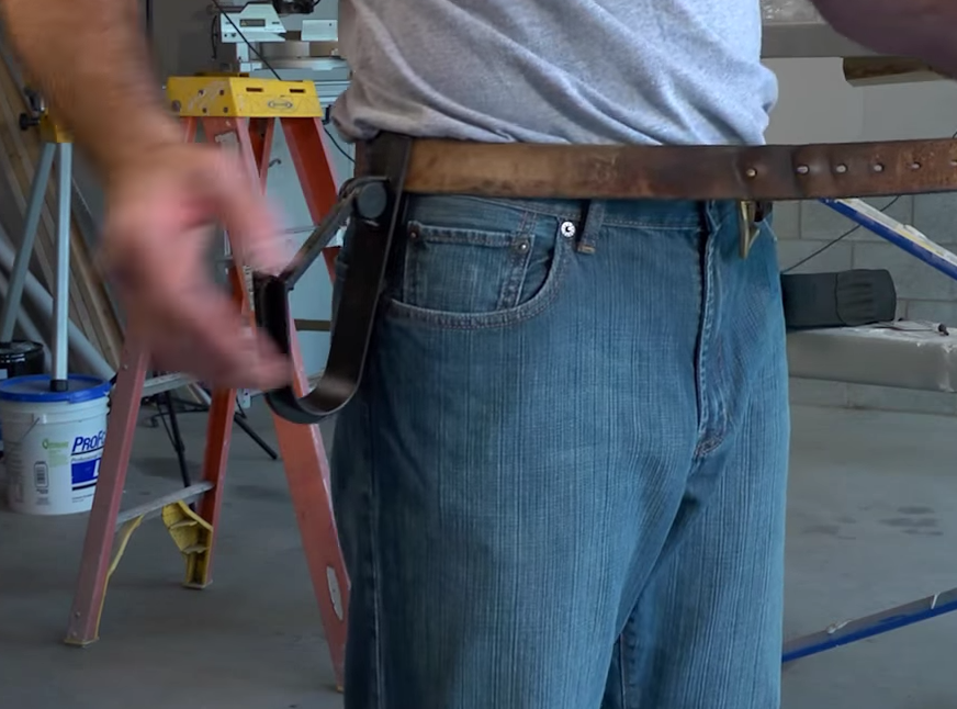 The Gorilla Hook Cordless Drill Holster requires only one drill hand to operate.