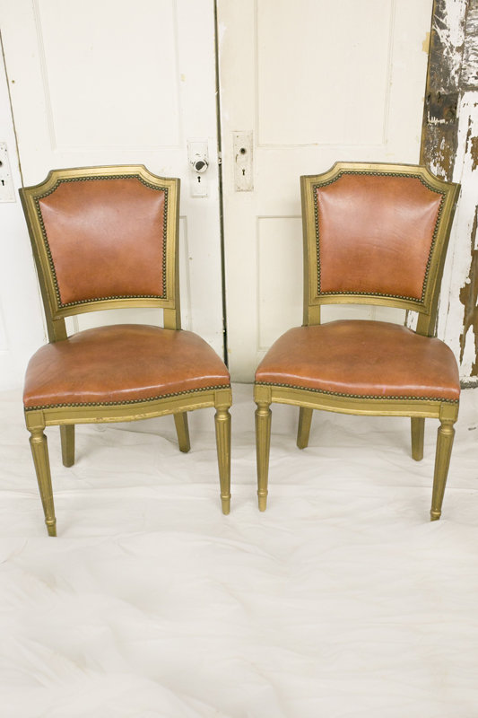 Gold Leather Chairs~$20 each
