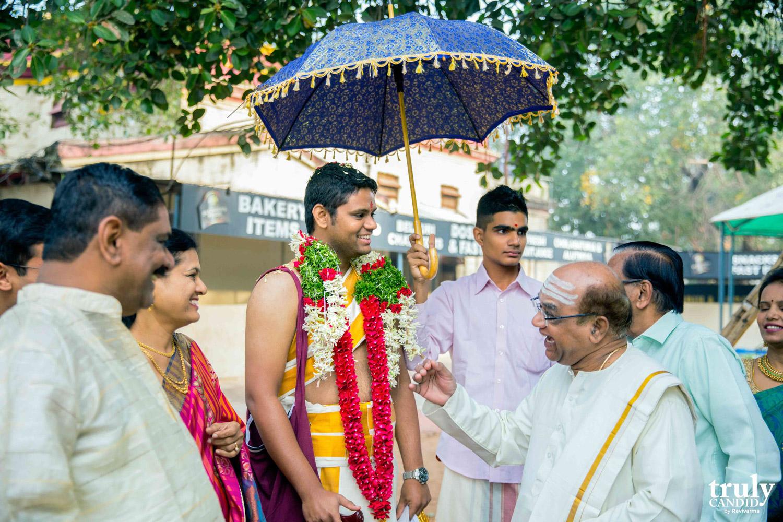 groom being welcomed