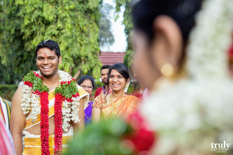 bride welcoming the groom