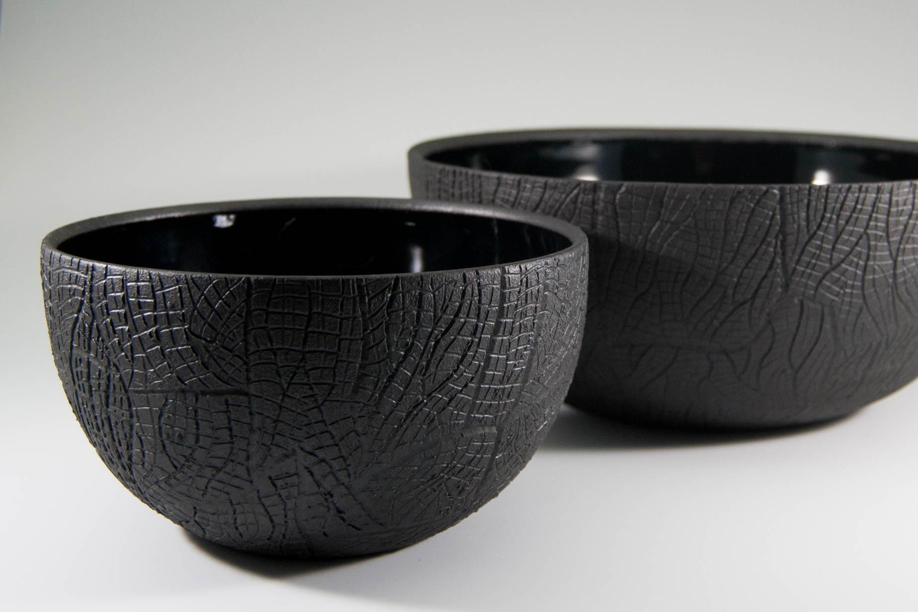Burned Bark Charcoal Bowls
