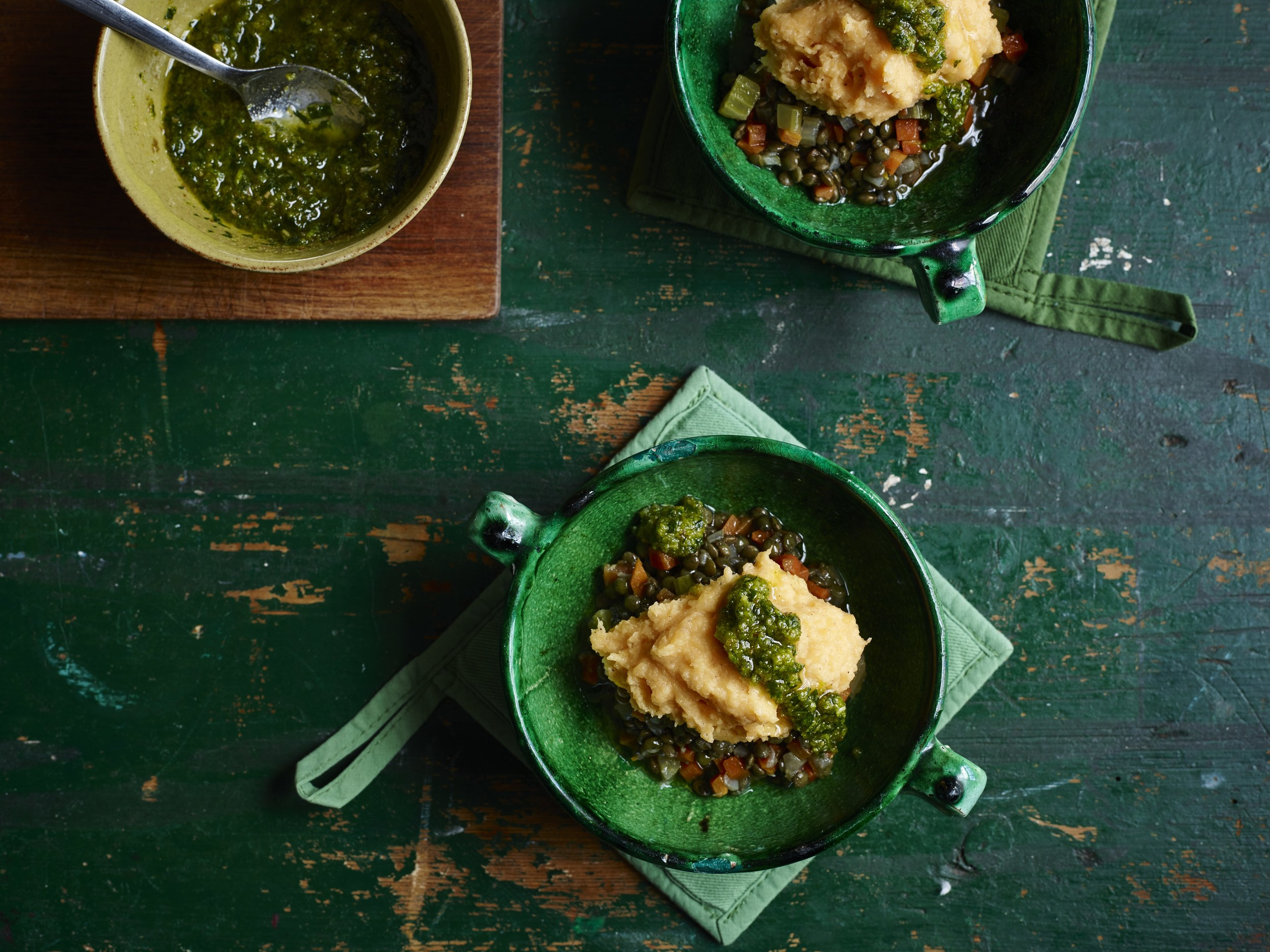 Swede, lentils, salsa