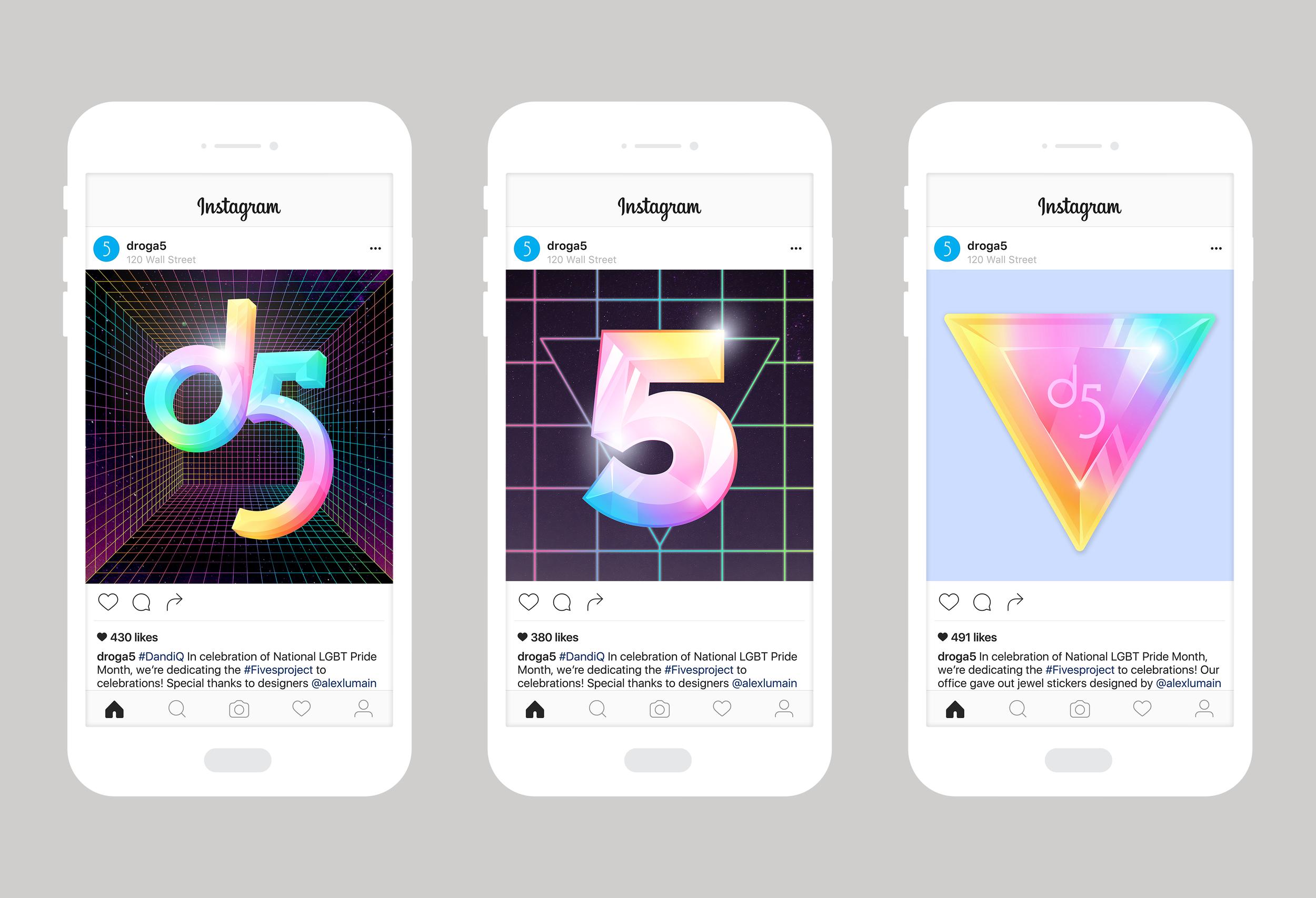 Social Posts I created for D5's Instagram in celebration of LGBT Pride Month
