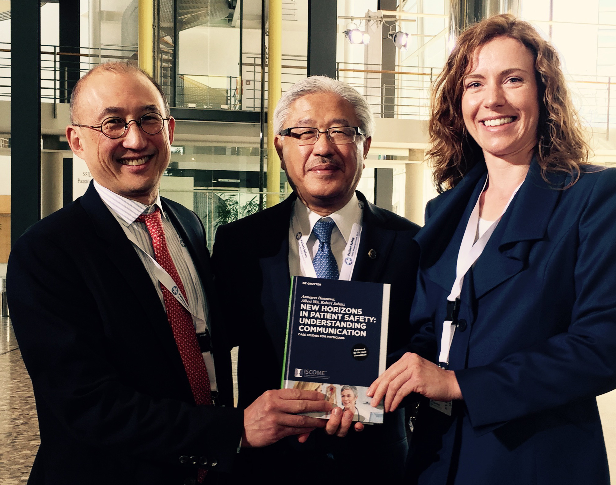 Hot off the press: With Albert Wu (left) and Victor Dzau (middle) at the Ministerial Patient Safety Summit 2017 in Bonn, Germany.