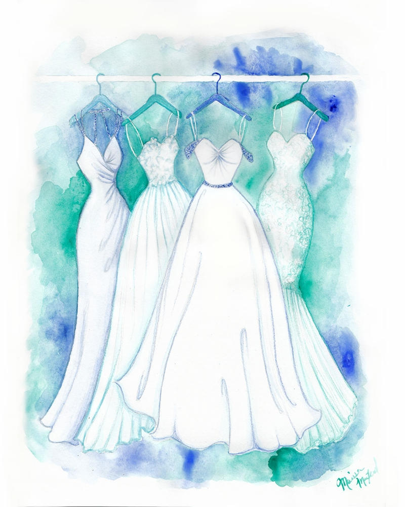 Turquoise Wedding gown Watercolor Illustration by Dally Creativity Co
