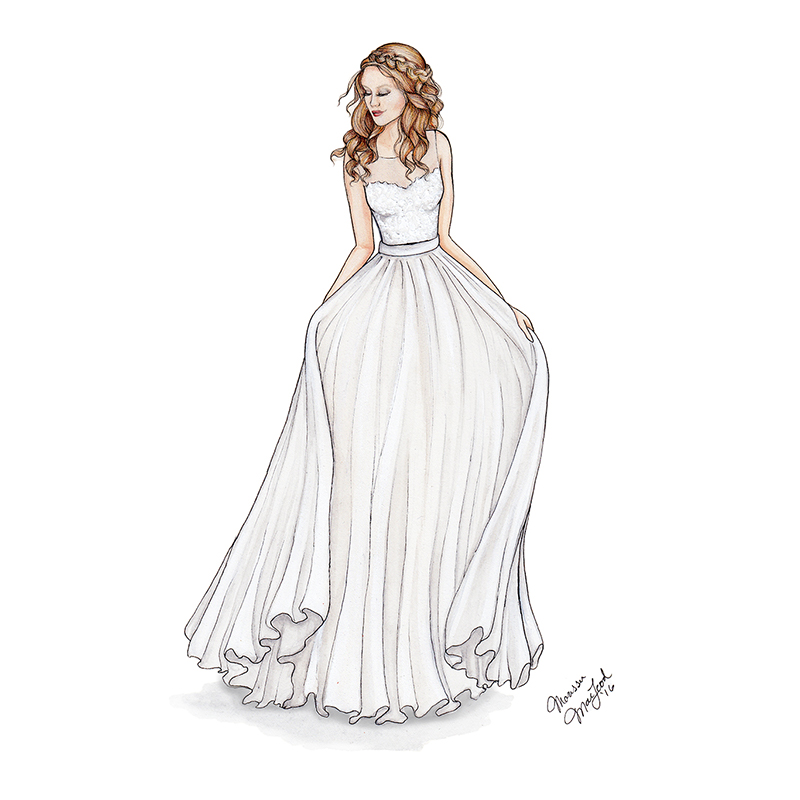Custom Lace Wedding Gown Illustration by Marissa MacLeod of Dally Creativity Co.