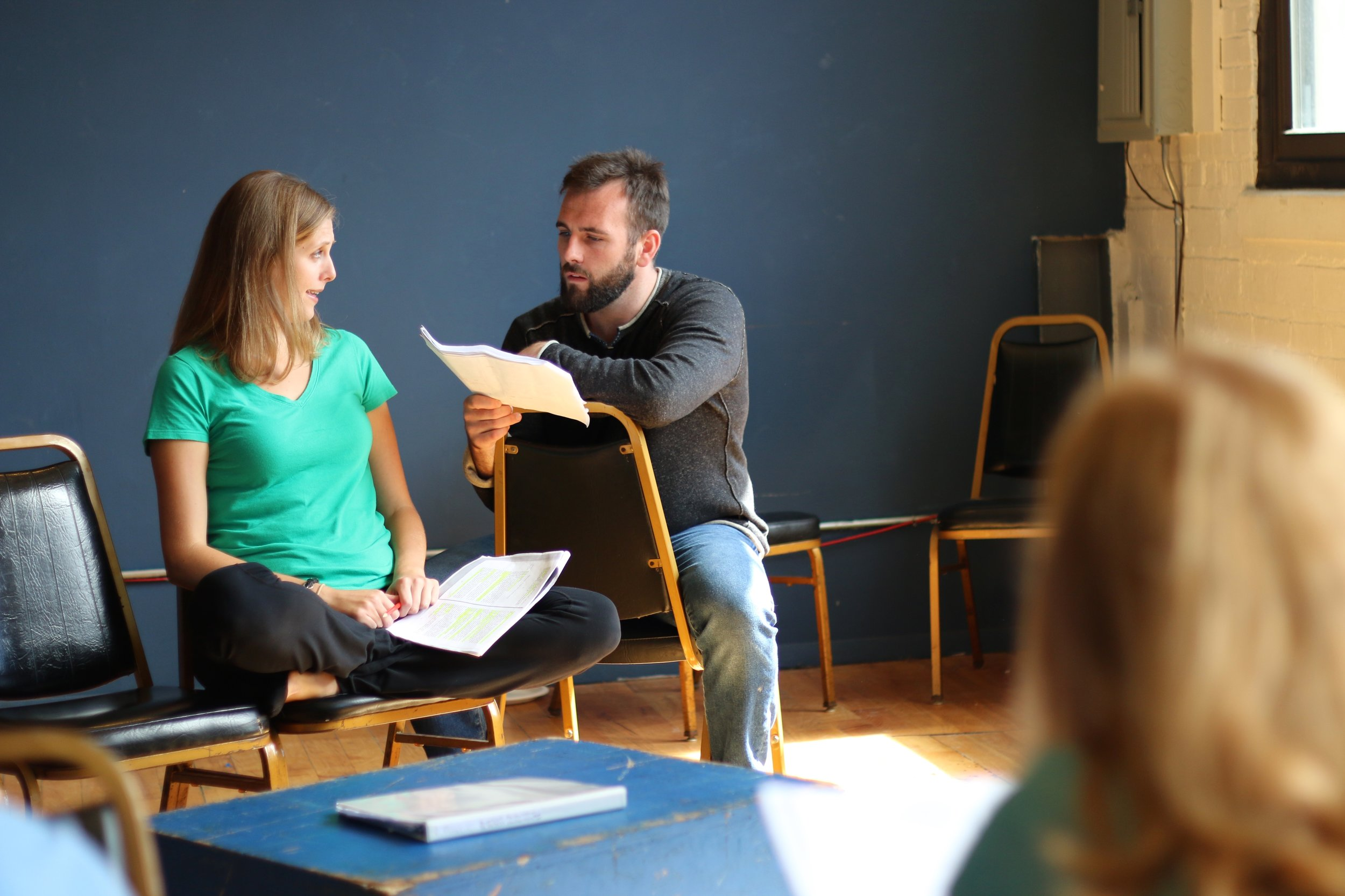 Laura Matthews and Mickey O'Sullivan in rehearsal for  Dying City.  Photo by Cody Jolly.