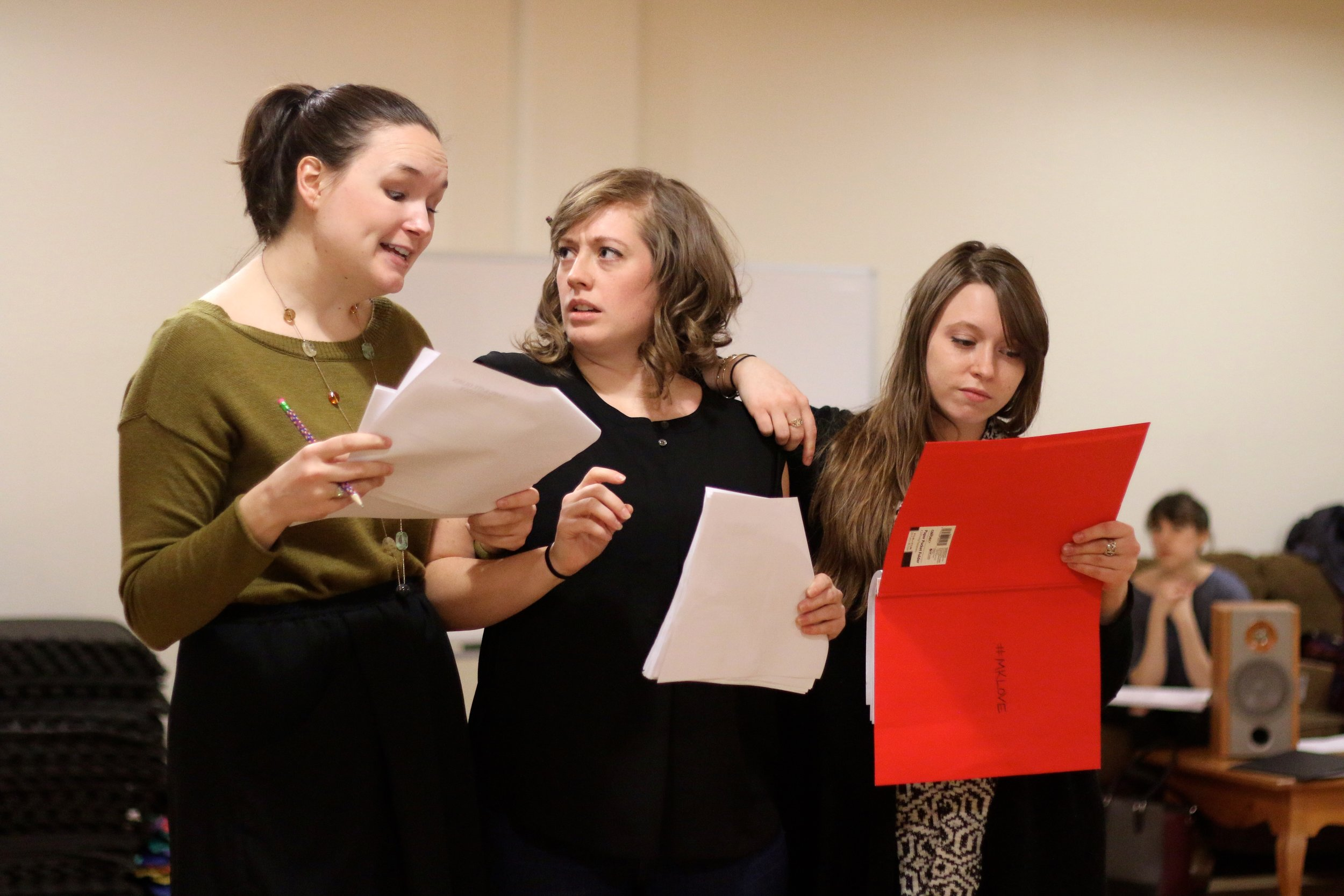 Angela Horn, Carolyn Sinon, and Cydney Moody in rehearsal for  Mary-Kate Olsen Is In Love . Photo by Cody Jolly.