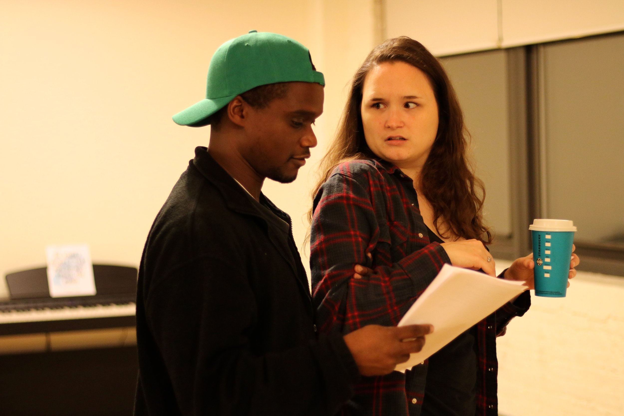 Raymond Jacquet and Angela Horn in rehearsal for  BOB: A Life In Five Acts . Photo by Cody Jolly.
