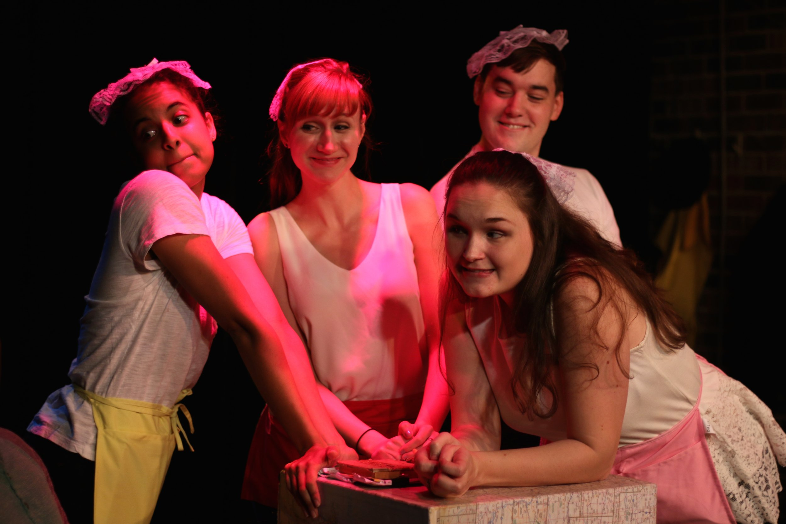 Sarah Jane Patin, Brittany Stock, Bryan Renaud, and Angela Horn in  BOB: A Life In Five Acts . Photo by Cody Jolly.
