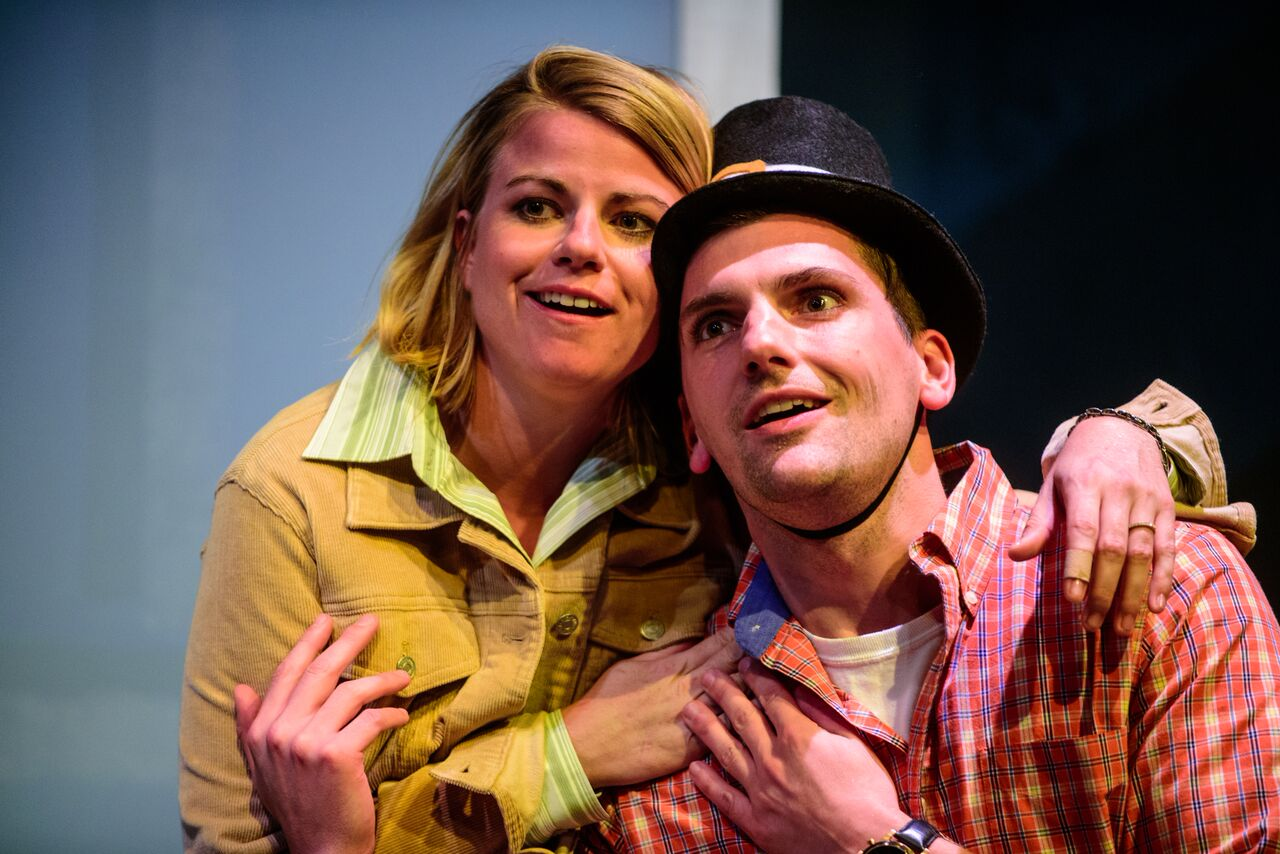 Erin O'Brien and Mike Newquist in  In The Wake . Photo by Paul Goyette.