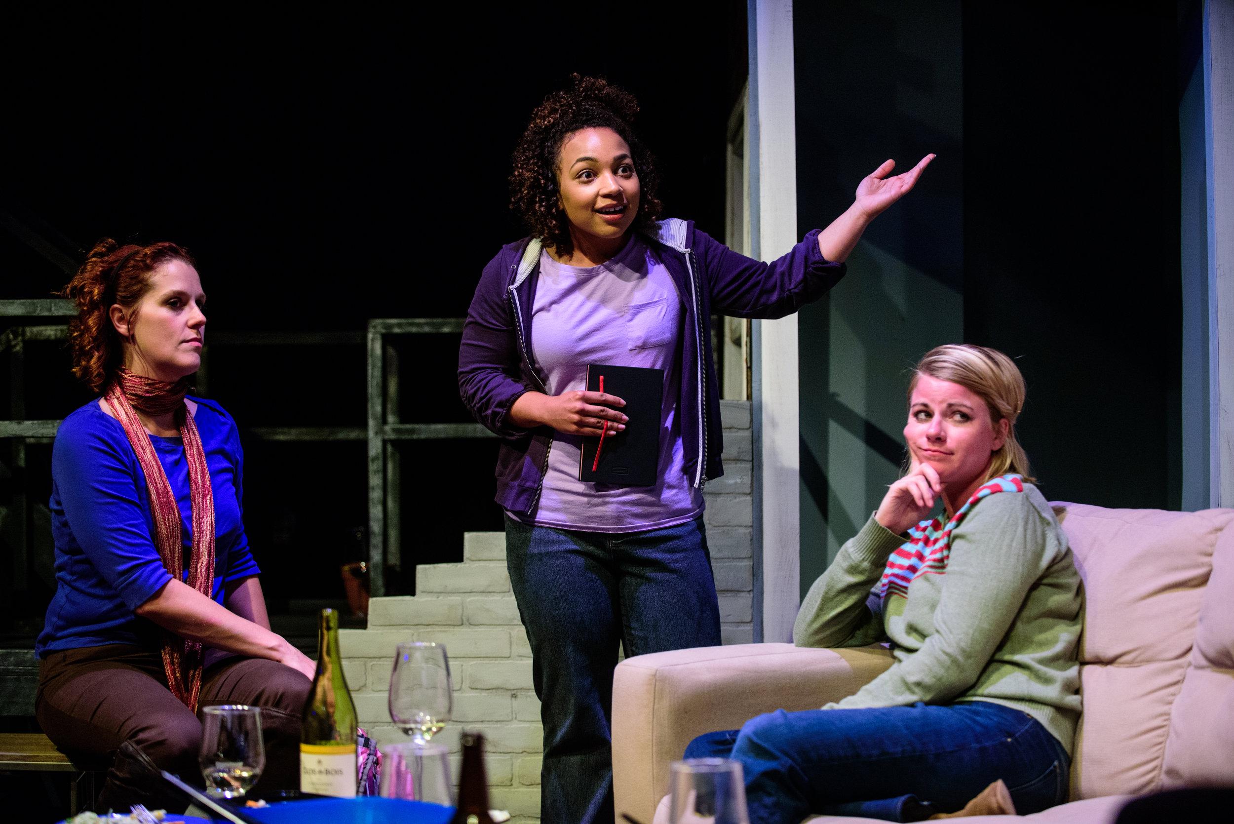 Adrienne Matzen, Samantha Newcomb, and Erin O'Brien in  In The Wake . Photo by Paul Goyette.