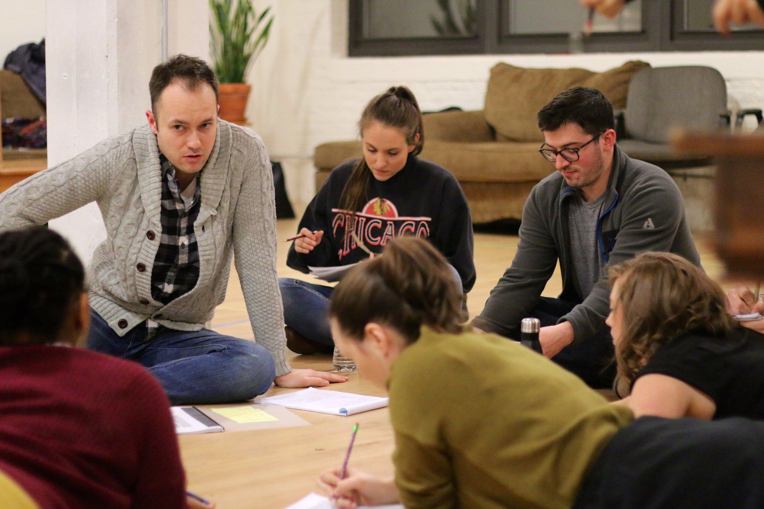 Derek Bertelsen and the cast of  Mary-Kate Olsen Is In Love  in rehearsal. Photo by Cody Jolly.