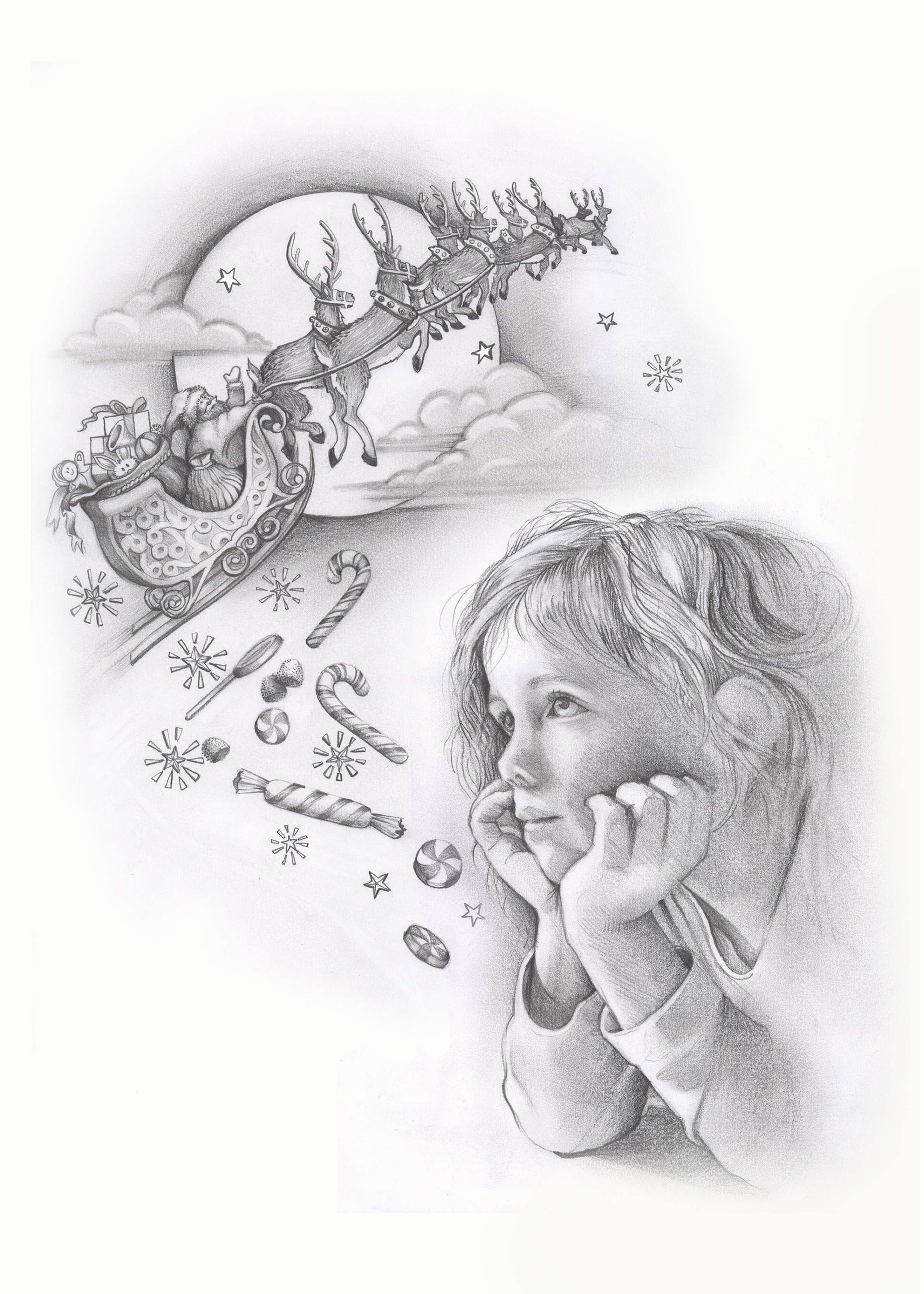 Patti King Slavtcheff_Christmas_Santa and Reindeer