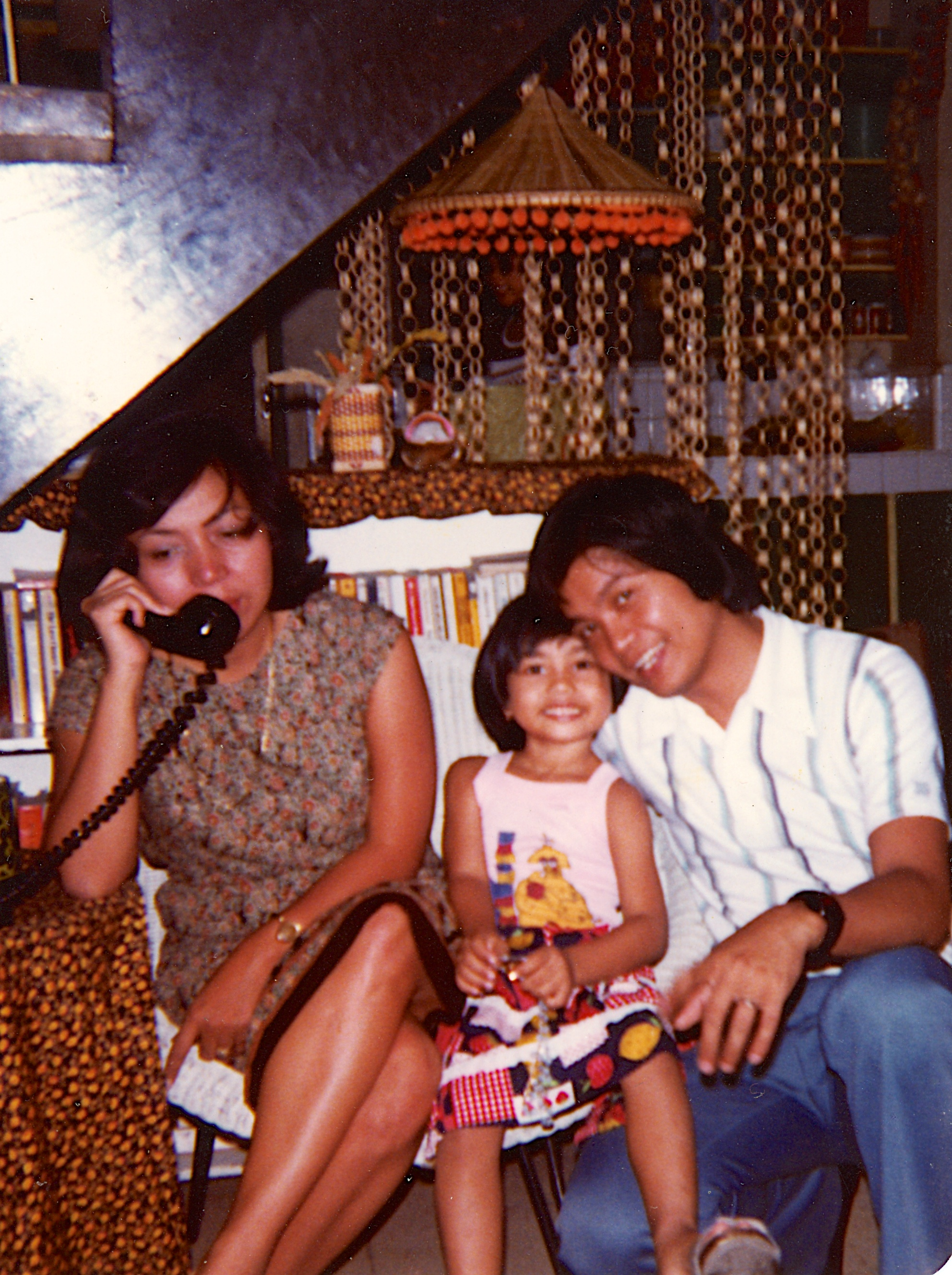 Carolina, Almira, and Atilano in the Philippines, 1979.
