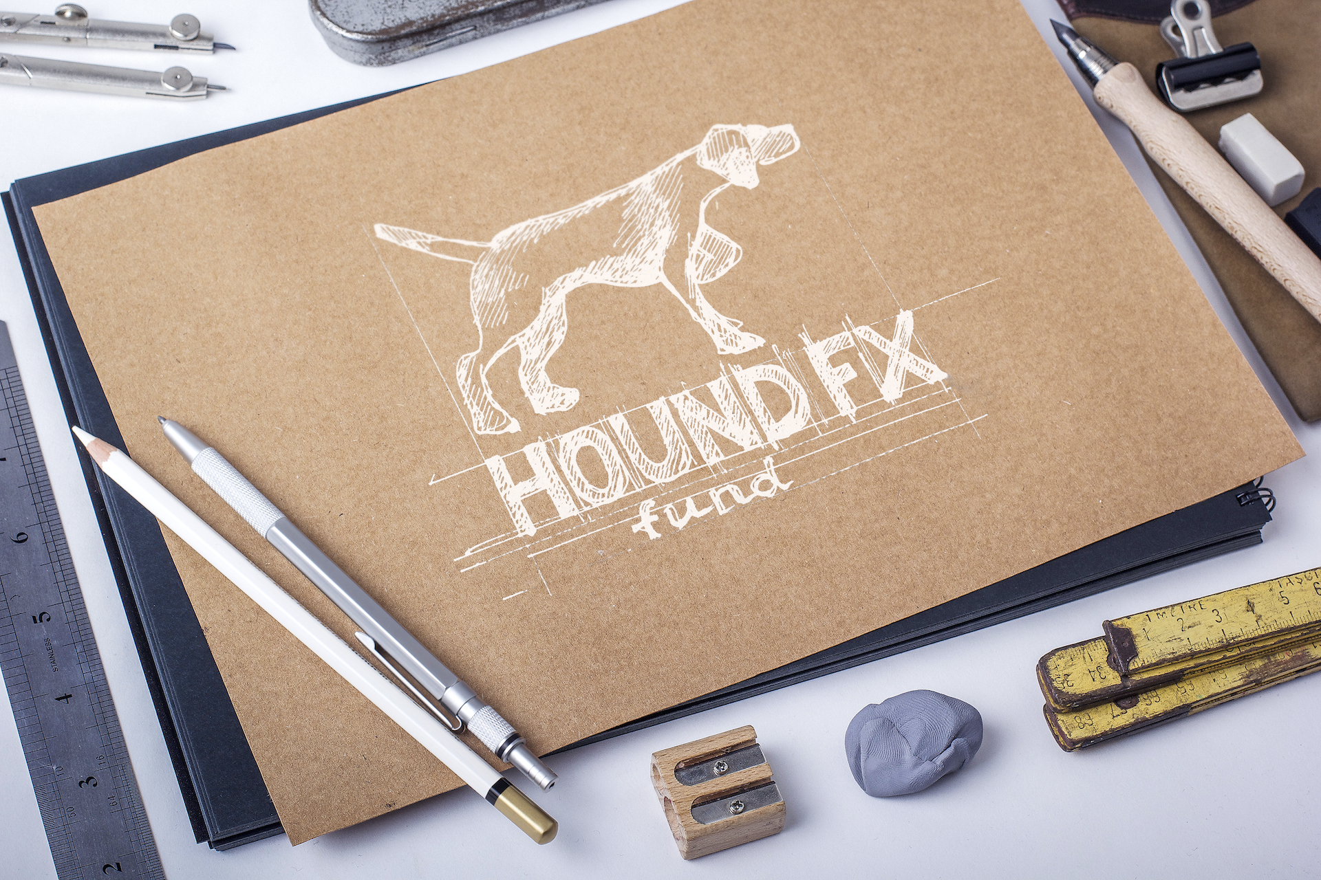 Image search & drafting - Found FX logo, featuring a hunting dog in a pointing position