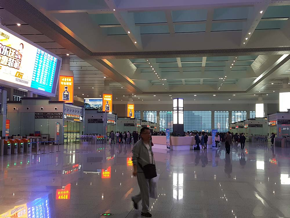 Inside the high speed railway station in Hefei, Anhui Province, China.