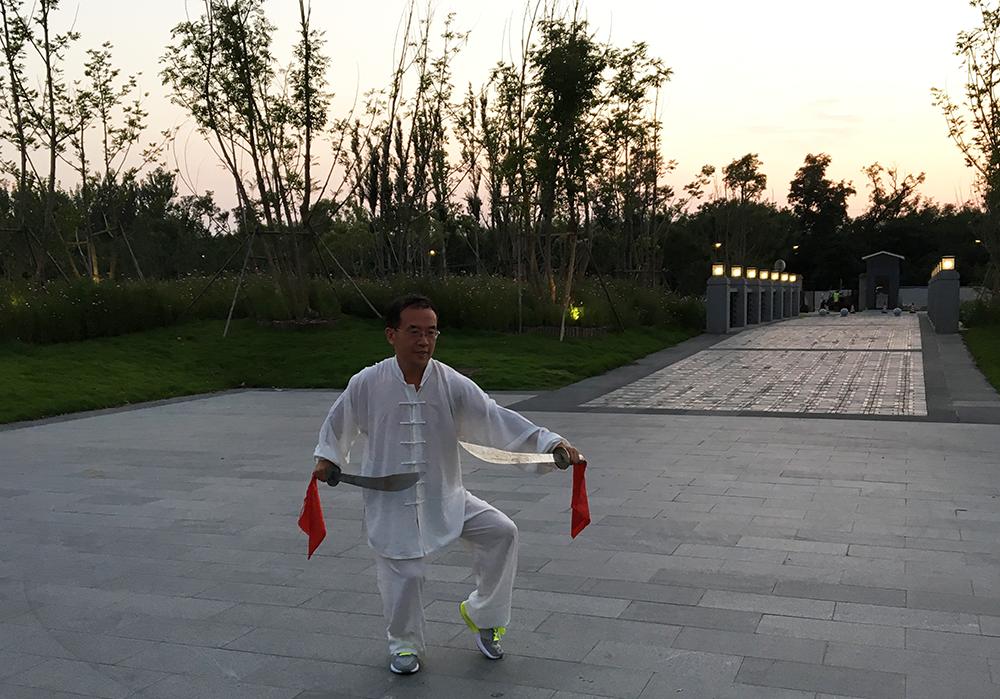 Mr. Li demonstrating martial arts in Kaifeng, China.