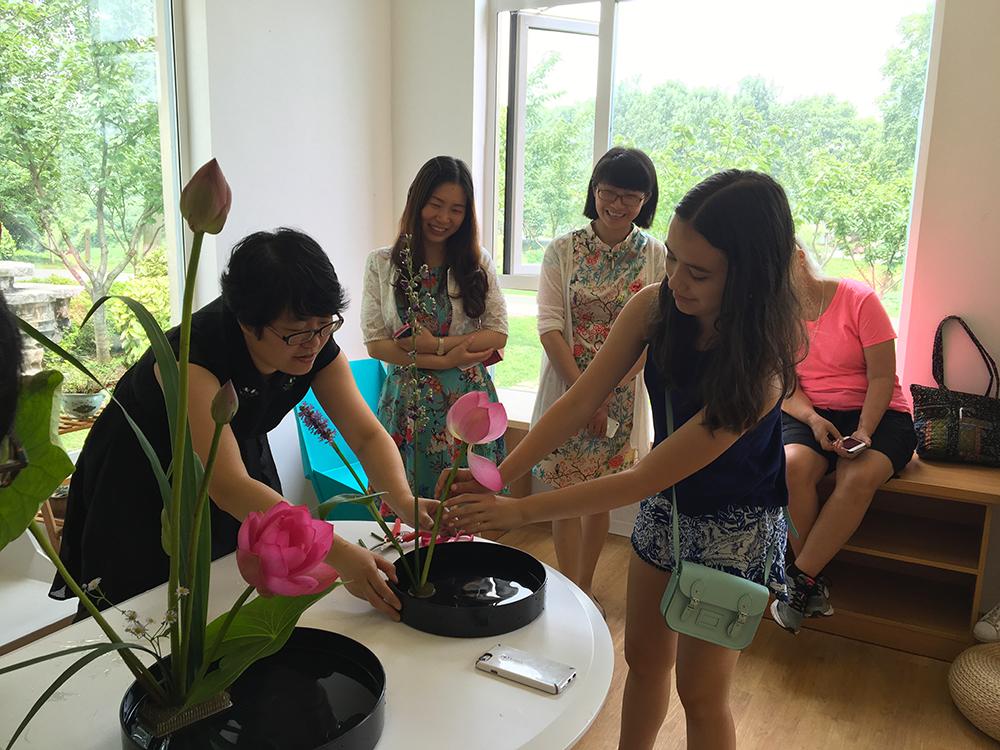Flower arrangement demonstration at the Ying Zhou Book Garden in Nanjing, China.